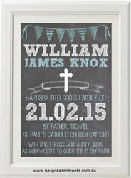 Boys Chalk Christening Print