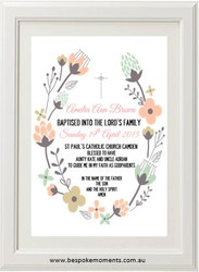 Floral Christening Print