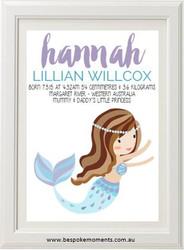 Lilac & Blue Mermaid Birth Print