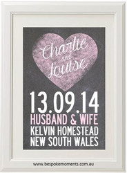 Chalk Hearts Wedding Print