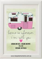 Pink Vintage Caravan Wedding Print