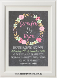 Chalk Floral Garland Wedding Print