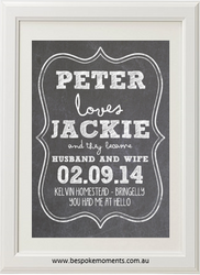 White Chalk Wedding Print