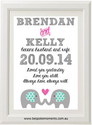 Elephant Wedding Print