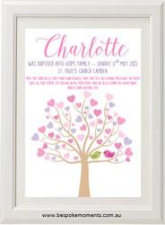 Pastel Tree Christening Print