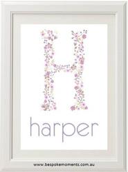 Lavender Floral Monogram Name Print
