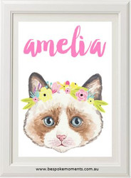 Kitten Flower Crown Name Print