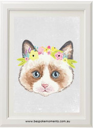 Kitten Flower Crown Print