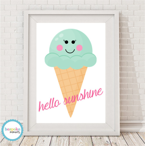 Product image of Hello Sunshine Ice Cream Cone Print