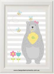 Honey Bear Girl Print