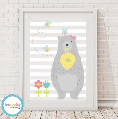 Product image of Honey Bear Girl Print