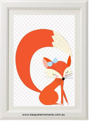 Cute Sleepy Fox Girl Print