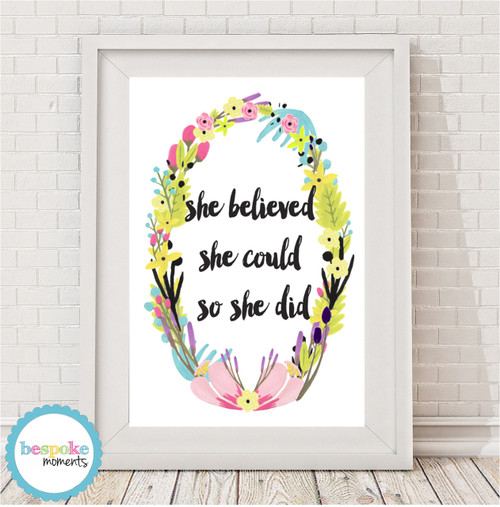 Product image of She Believed She Could Floral Print