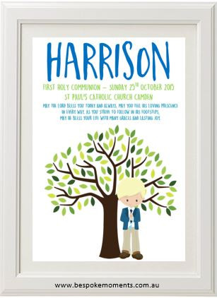 Product image of Boys First Holy Communion Tree Print