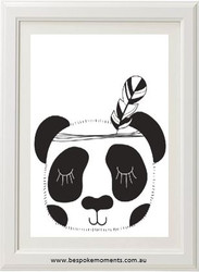 Monochrome Sleepy Panda Print