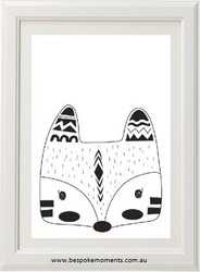 Monochrome Tribal Fox Print