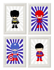 Superhero wall art set. Batman, Captain America, Spiderman and Superman