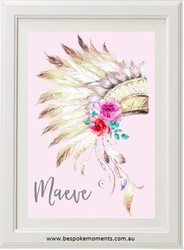 Boho Headdress Name Print