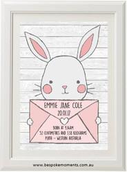 Bunny Mail Birth Print