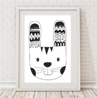 Comp Promo - Monochrome Tribal Bunny A4