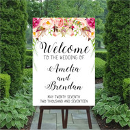 Rustic Blooms Wedding Welcome Sign