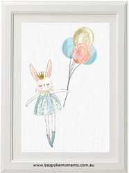 Floating Bunny Print - Linen