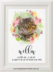 Pet Memorial Print - Floral Cat