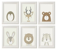 Gender Neutral Animal Prints - Set of 6