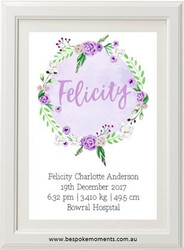 Mauve Blooms Birth Print