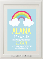 Rainbow Cloud Birth Print