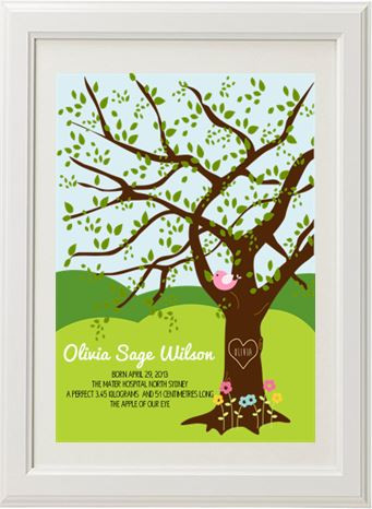 Product image of Oak Tree Birth Print