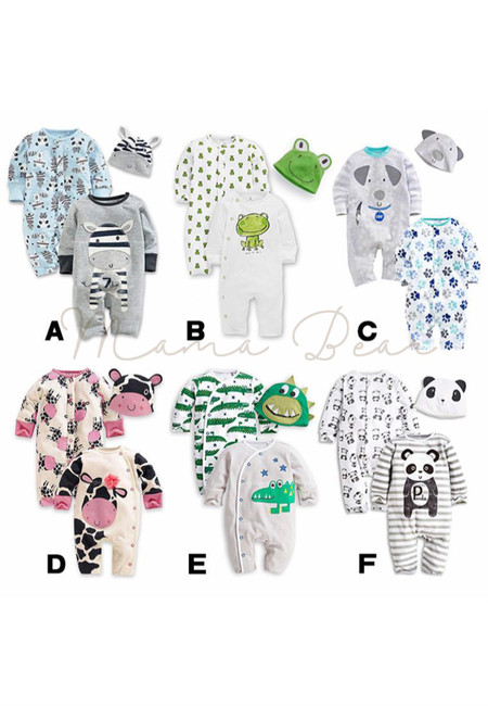 Cute Animals Print 2 Piece Baby Bodysuit with Hat