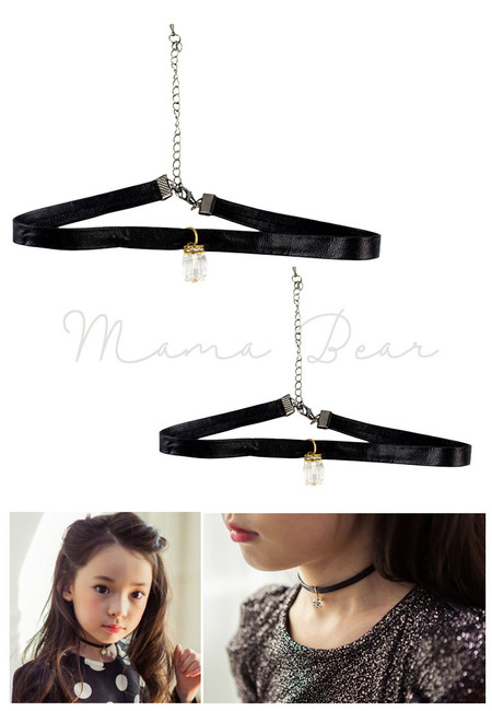 Simple Leather Crystal Pendant Choker