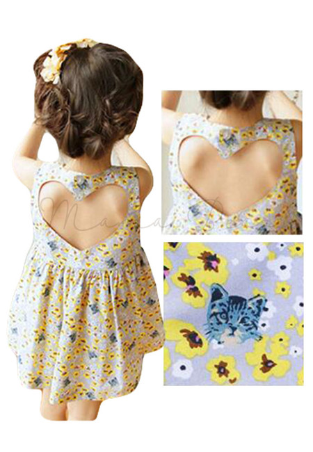 Floral and Cat Print Heart Shape Back Kids Dress