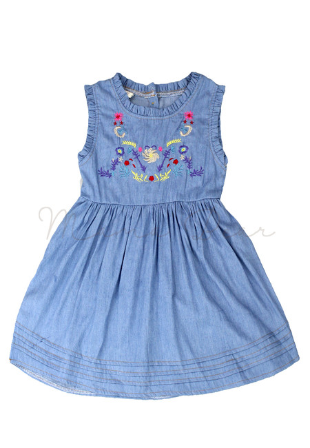 Embroidered Floral Denim Sleeveless Kids Dress