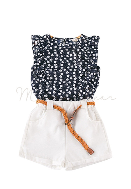 Frilled Flower Top with Shorts and Belt Kids Clothing Set