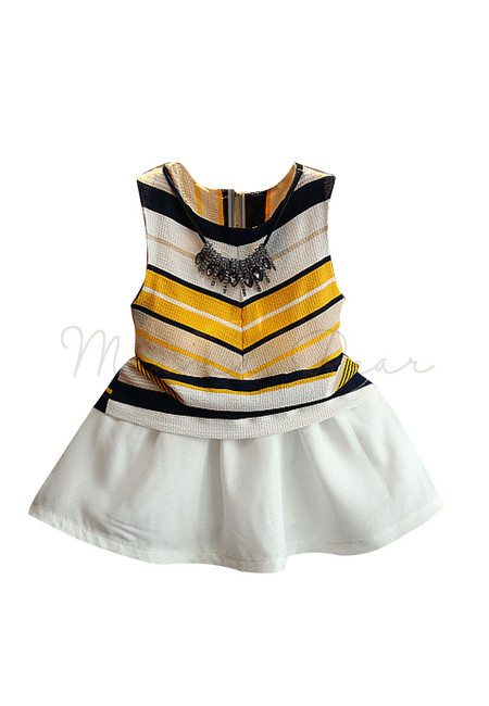 Stripes Button Lock Ribbon with Skirt Kids Clothing Set