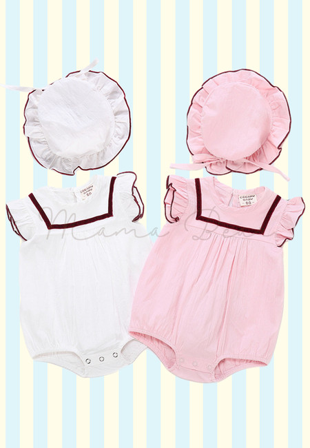 Frilled Sleeve Kids Romper with Hat
