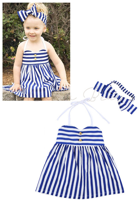 Casual Stripes with Headband Kids Dress