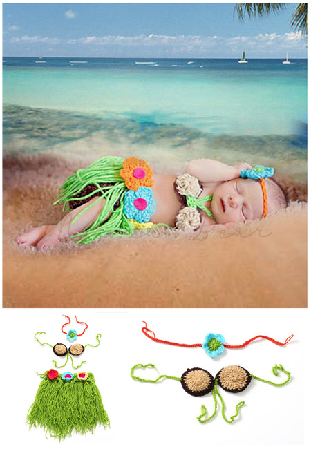 Pearly Shell Knitted Crochet Baby Costume Set