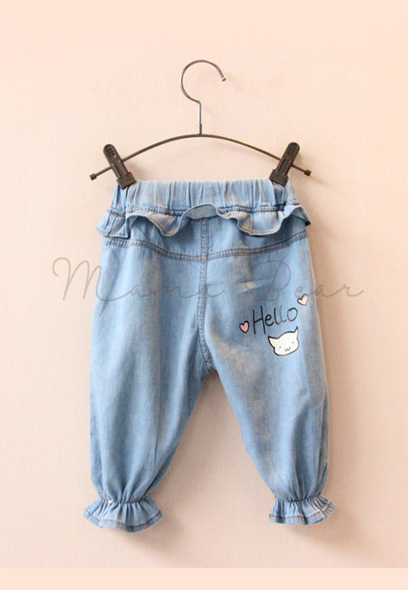 Hello Denim Ruffled Kids Pants