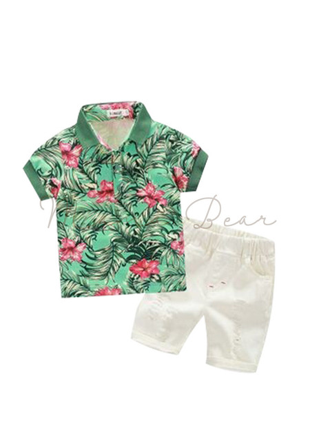 Flower And Leaf Top With Ripped Shorts Kids Set