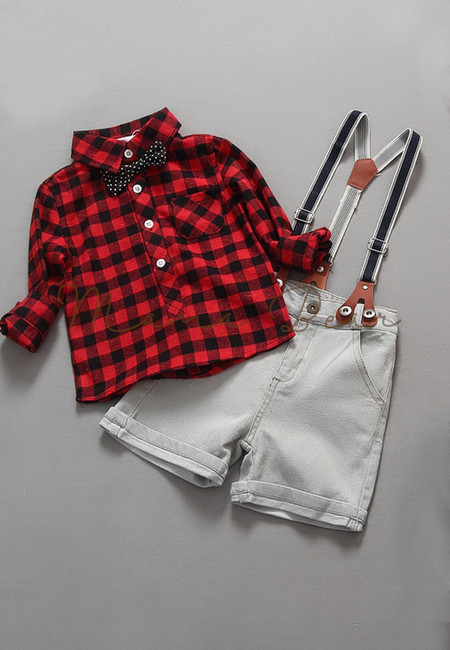 Checkered Longsleeve Top With Suspenders Short Kids Set
