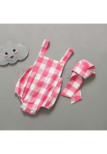 Checkered Stripes With Headband Kids Babysuit