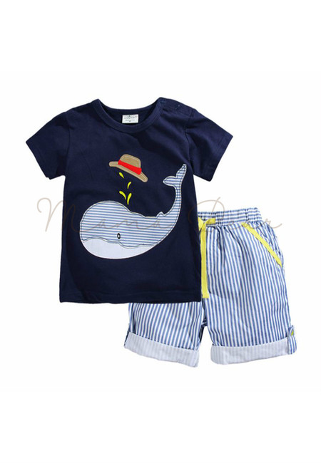 Cute Whale Stripes Kids Top and Shorts Set