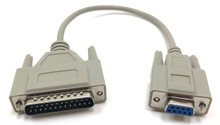 Serial Modem Cable DB9F to DB25M - 1ft