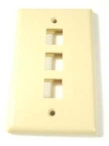 Single Gang Plate - 3 Port Beige