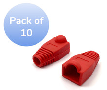 SNAGLESS CABLE BOOT CAT6 RED-10 PACK