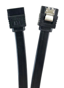 "12"" SATA III 6 GB/s Straight Cable w/Locking Latch - Black"