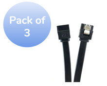 "40"" SATA III 6 GB/s Straight Cable w/Locking Latch - 3 Pack - Black"